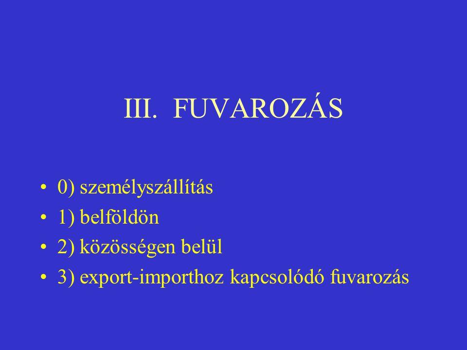 III. FUVAROZÁS •0) személyszállítás •1) belföldön •2) közösségen belül •3) export-importhoz kapcsolódó fuvarozás