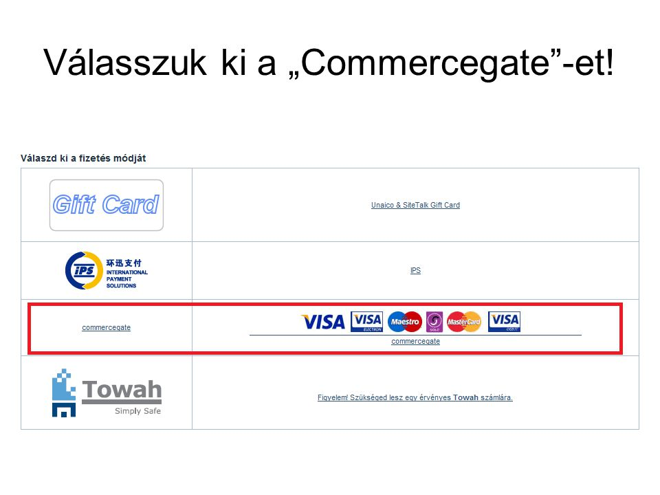 """Válasszuk ki a """"Commercegate -et!"""
