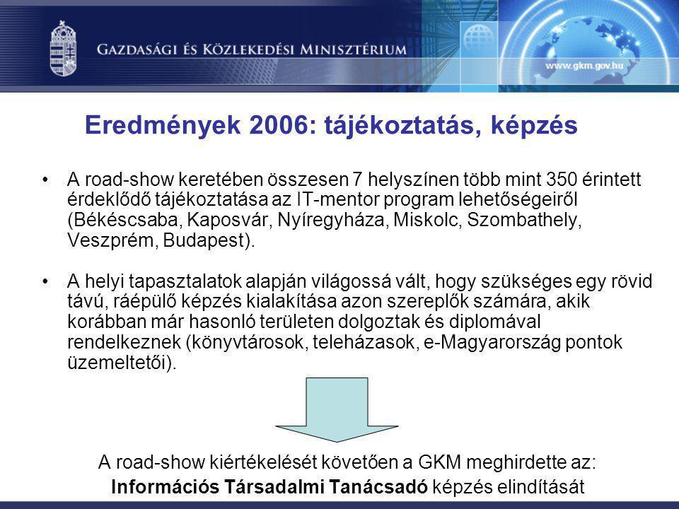 •A road-show keretében összesen 7 helyszínen több mint 350 érintett érdeklődő tájékoztatása az IT-mentor program lehetőségeiről (Békéscsaba, Kaposvár,