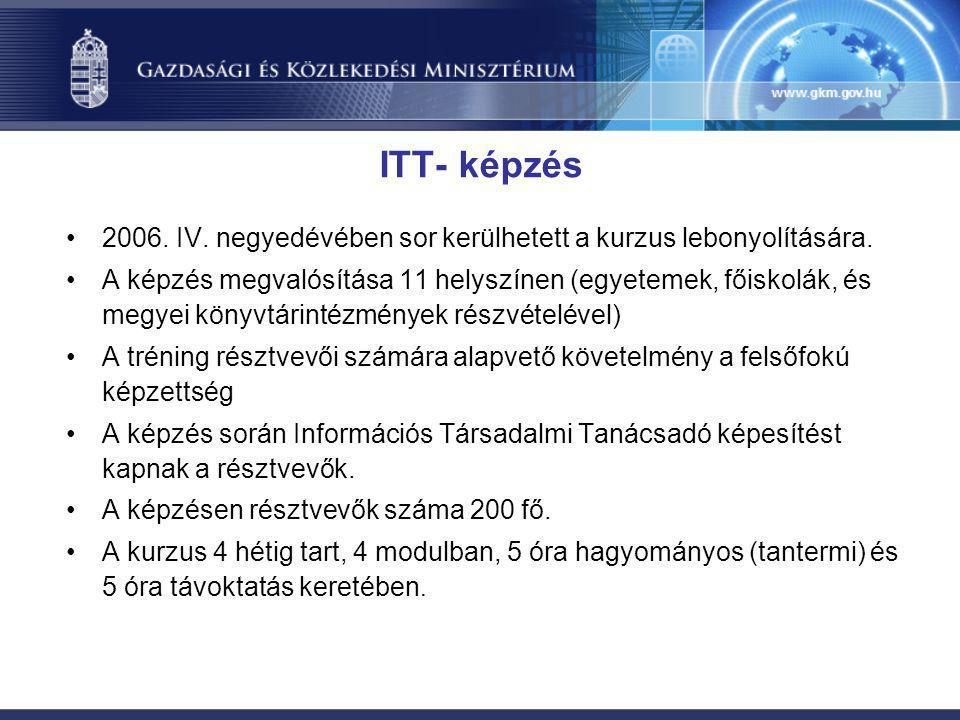 ITT- képzés •2006. IV. negyedévében sor kerülhetett a kurzus lebonyolítására. •A képzés megvalósítása 11 helyszínen (egyetemek, főiskolák, és megyei k
