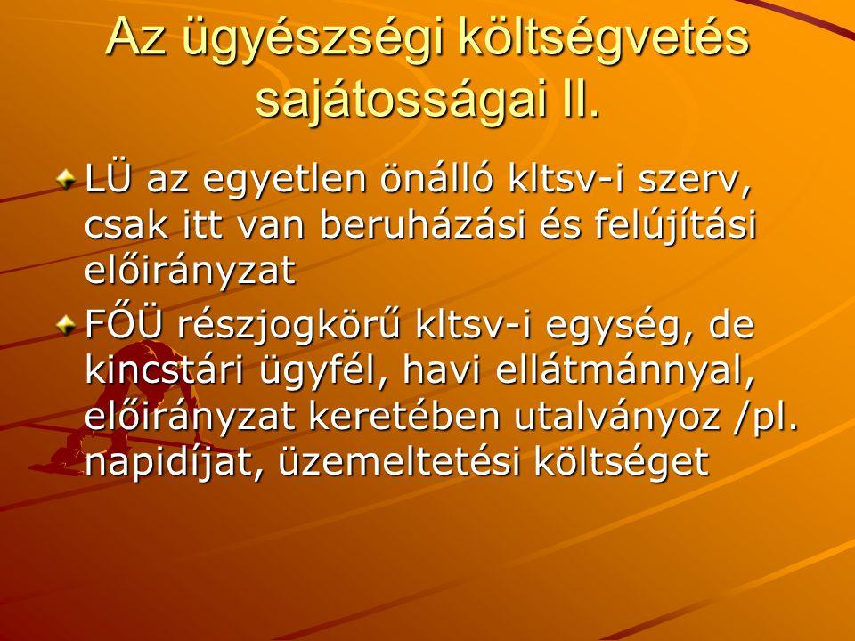 Az ügyészségi költségvetés sajátosságai II.