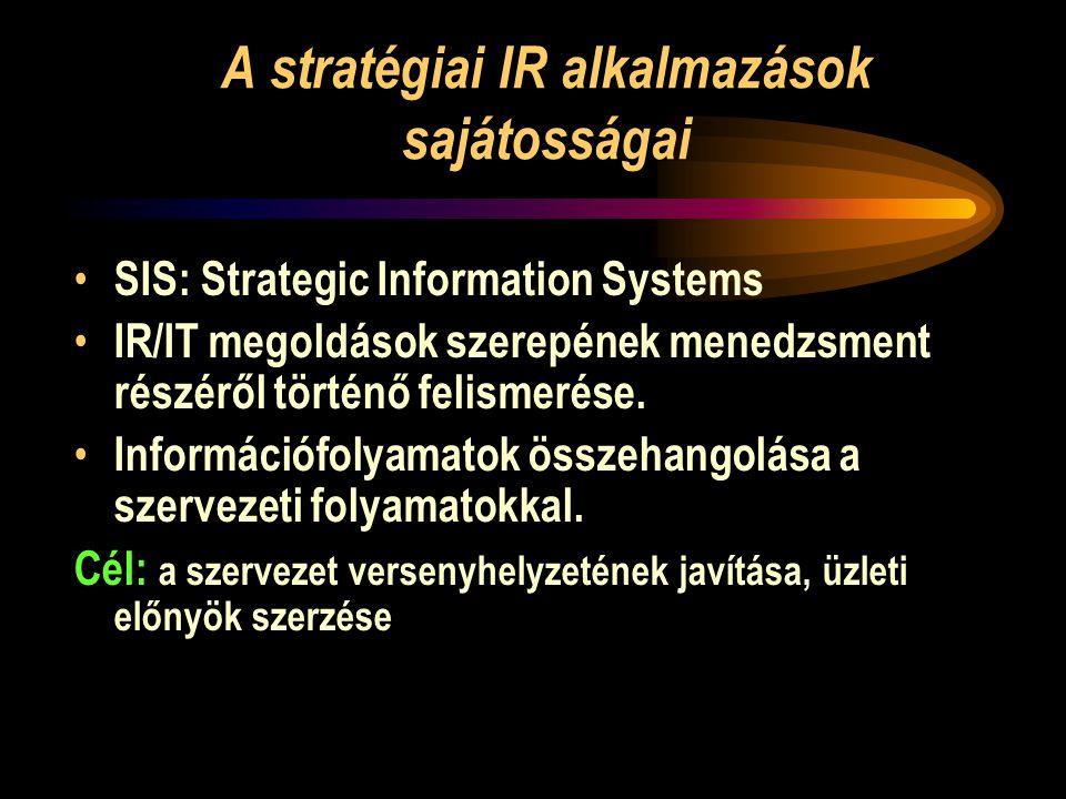 A stratégiai IR alkalmazások sajátosságai • SIS: Strategic Information Systems • IR/IT megoldások szerepének menedzsment részéről történő felismerése.