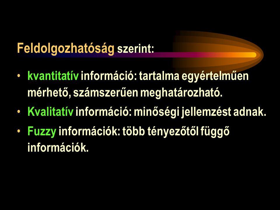 Feldolgozhatóság szerint: • kvantitatív információ: tartalma egyértelműen mérhető, számszerűen meghatározható.