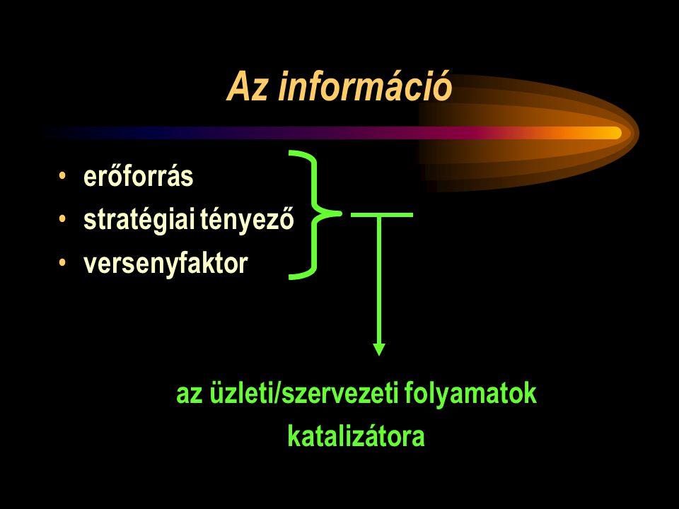 Az információ • erőforrás • stratégiai tényező • versenyfaktor az üzleti/szervezeti folyamatok katalizátora