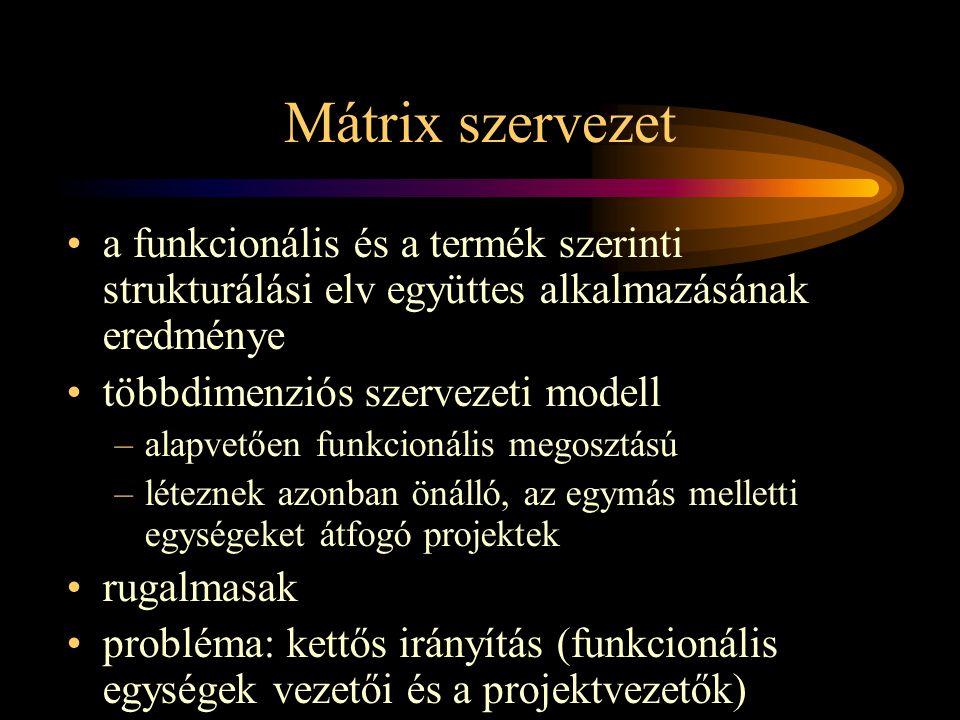Mátrix szervezet •a funkcionális és a termék szerinti strukturálási elv együttes alkalmazásának eredménye •többdimenziós szervezeti modell –alapvetően funkcionális megosztású –léteznek azonban önálló, az egymás melletti egységeket átfogó projektek •rugalmasak •probléma: kettős irányítás (funkcionális egységek vezetői és a projektvezetők)
