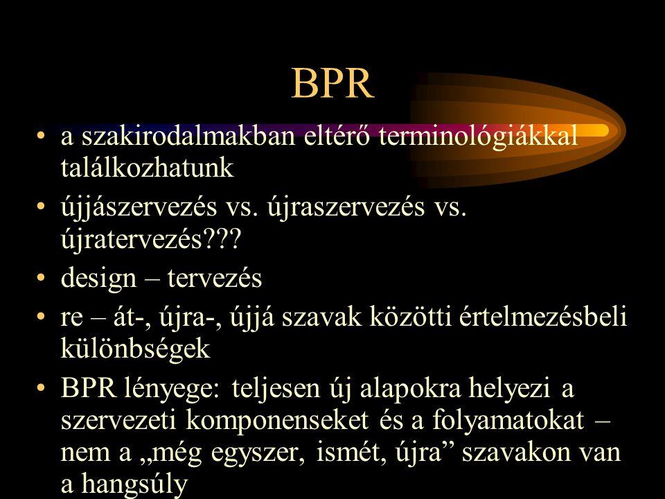 BPR •a szakirodalmakban eltérő terminológiákkal találkozhatunk •újjászervezés vs.