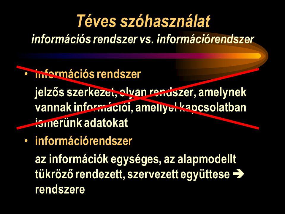 Téves szóhasználat információs rendszer vs.