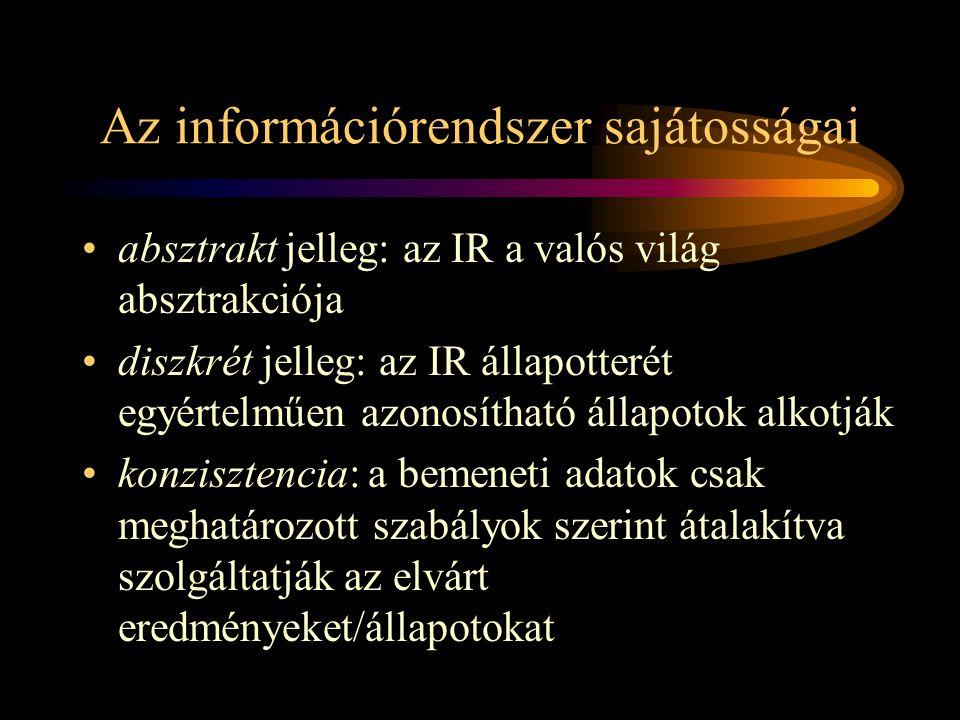 Az információrendszer sajátosságai •absztrakt jelleg: az IR a valós világ absztrakciója •diszkrét jelleg: az IR állapotterét egyértelműen azonosítható állapotok alkotják •konzisztencia: a bemeneti adatok csak meghatározott szabályok szerint átalakítva szolgáltatják az elvárt eredményeket/állapotokat