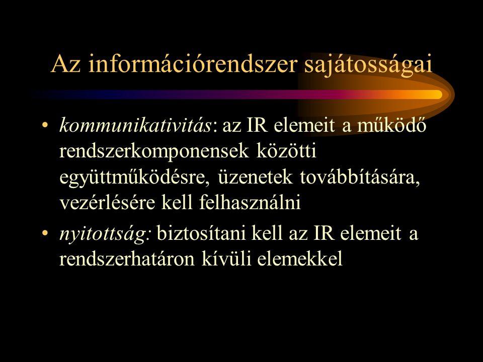 Az információrendszer sajátosságai •kommunikativitás: az IR elemeit a működő rendszerkomponensek közötti együttműködésre, üzenetek továbbítására, vezérlésére kell felhasználni •nyitottság: biztosítani kell az IR elemeit a rendszerhatáron kívüli elemekkel