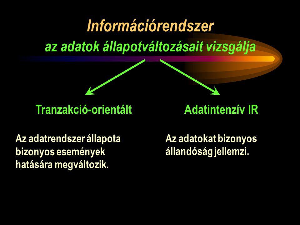 Információrendszer az adatok állapotváltozásait vizsgálja Tranzakció-orientáltAdatintenzív IR Az adatrendszer állapota bizonyos események hatására megváltozik.