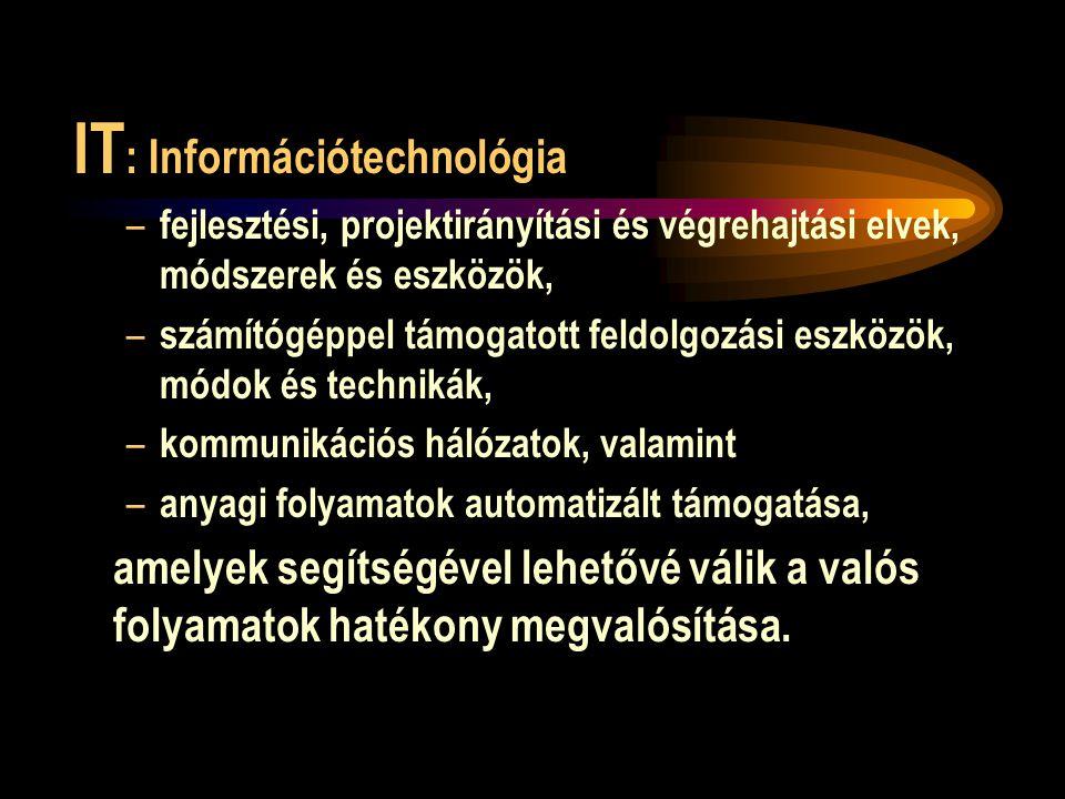 IT : Információtechnológia – fejlesztési, projektirányítási és végrehajtási elvek, módszerek és eszközök, – számítógéppel támogatott feldolgozási eszközök, módok és technikák, – kommunikációs hálózatok, valamint – anyagi folyamatok automatizált támogatása, amelyek segítségével lehetővé válik a valós folyamatok hatékony megvalósítása.