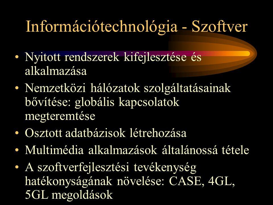 Információtechnológia - Szoftver •Nyitott rendszerek kifejlesztése és alkalmazása •Nemzetközi hálózatok szolgáltatásainak bővítése: globális kapcsolatok megteremtése •Osztott adatbázisok létrehozása •Multimédia alkalmazások általánossá tétele •A szoftverfejlesztési tevékenység hatékonyságának növelése: CASE, 4GL, 5GL megoldások
