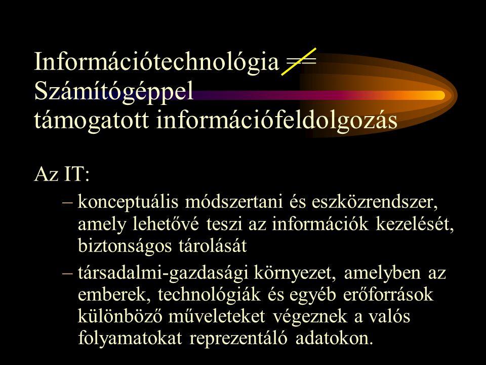 Információtechnológia == Számítógéppel támogatott információfeldolgozás Az IT: –konceptuális módszertani és eszközrendszer, amely lehetővé teszi az információk kezelését, biztonságos tárolását –társadalmi-gazdasági környezet, amelyben az emberek, technológiák és egyéb erőforrások különböző műveleteket végeznek a valós folyamatokat reprezentáló adatokon.