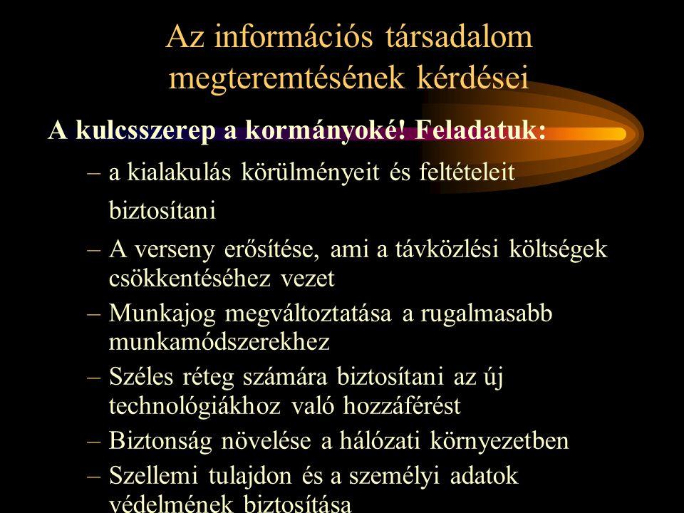 Az információs társadalom megteremtésének kérdései A kulcsszerep a kormányoké.
