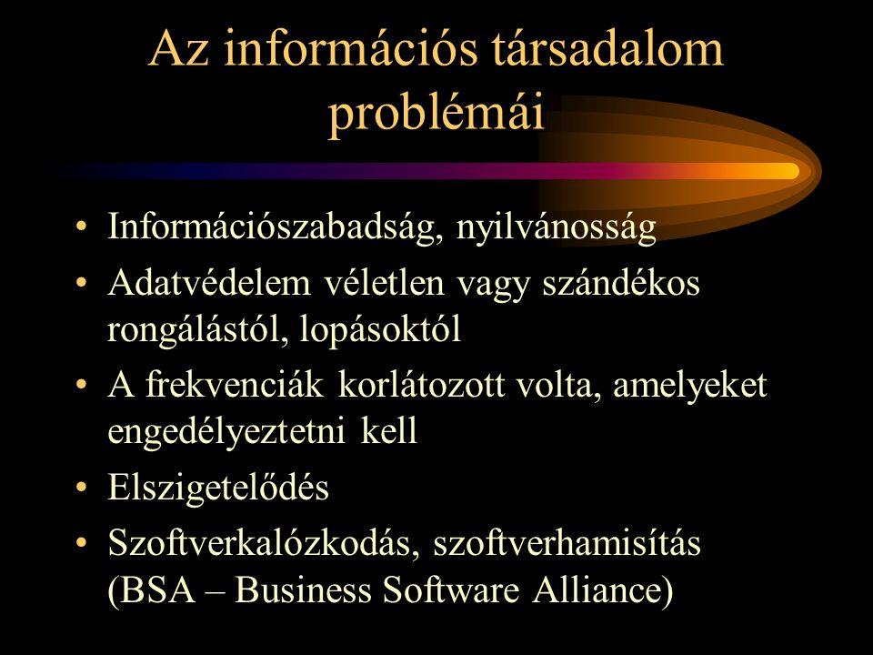Az információs társadalom problémái •Információszabadság, nyilvánosság •Adatvédelem véletlen vagy szándékos rongálástól, lopásoktól •A frekvenciák korlátozott volta, amelyeket engedélyeztetni kell •Elszigetelődés •Szoftverkalózkodás, szoftverhamisítás (BSA – Business Software Alliance)