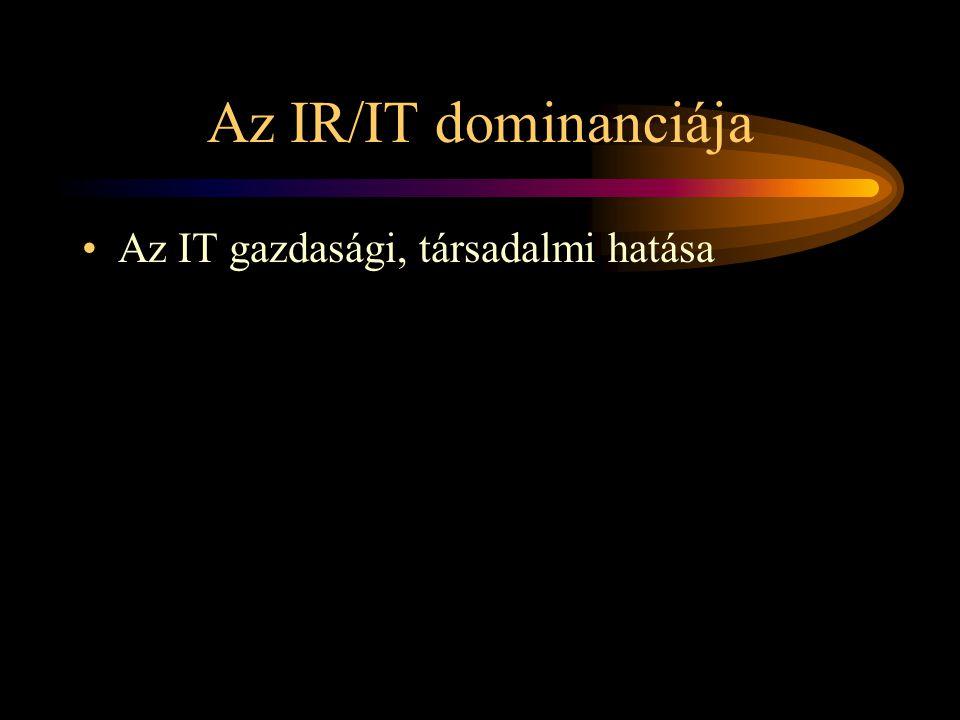 Az IR/IT dominanciája •Az IT gazdasági, társadalmi hatása