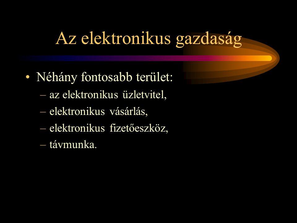 Az elektronikus gazdaság •Néhány fontosabb terület: –az elektronikus üzletvitel, –elektronikus vásárlás, –elektronikus fizetőeszköz, –távmunka.