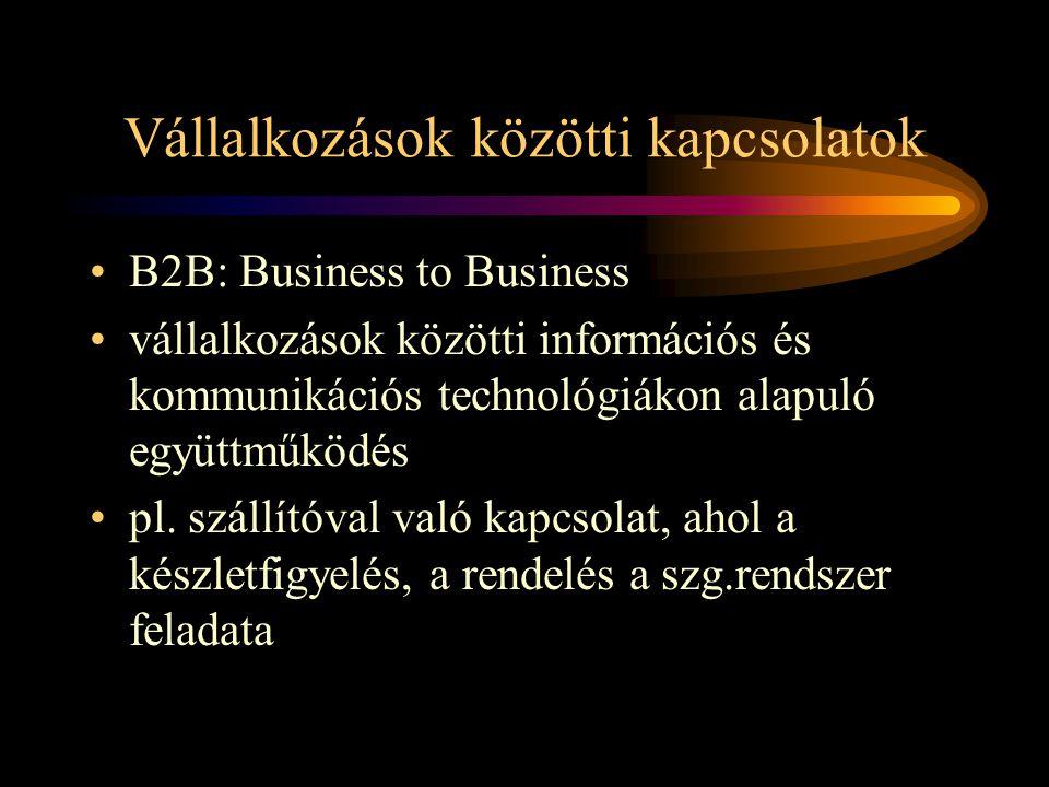 Vállalkozások közötti kapcsolatok •B2B: Business to Business •vállalkozások közötti információs és kommunikációs technológiákon alapuló együttműködés •pl.