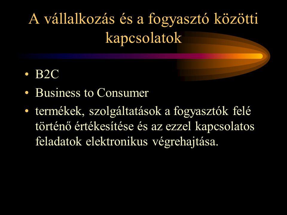 A vállalkozás és a fogyasztó közötti kapcsolatok •B2C •Business to Consumer •termékek, szolgáltatások a fogyasztók felé történő értékesítése és az ezzel kapcsolatos feladatok elektronikus végrehajtása.