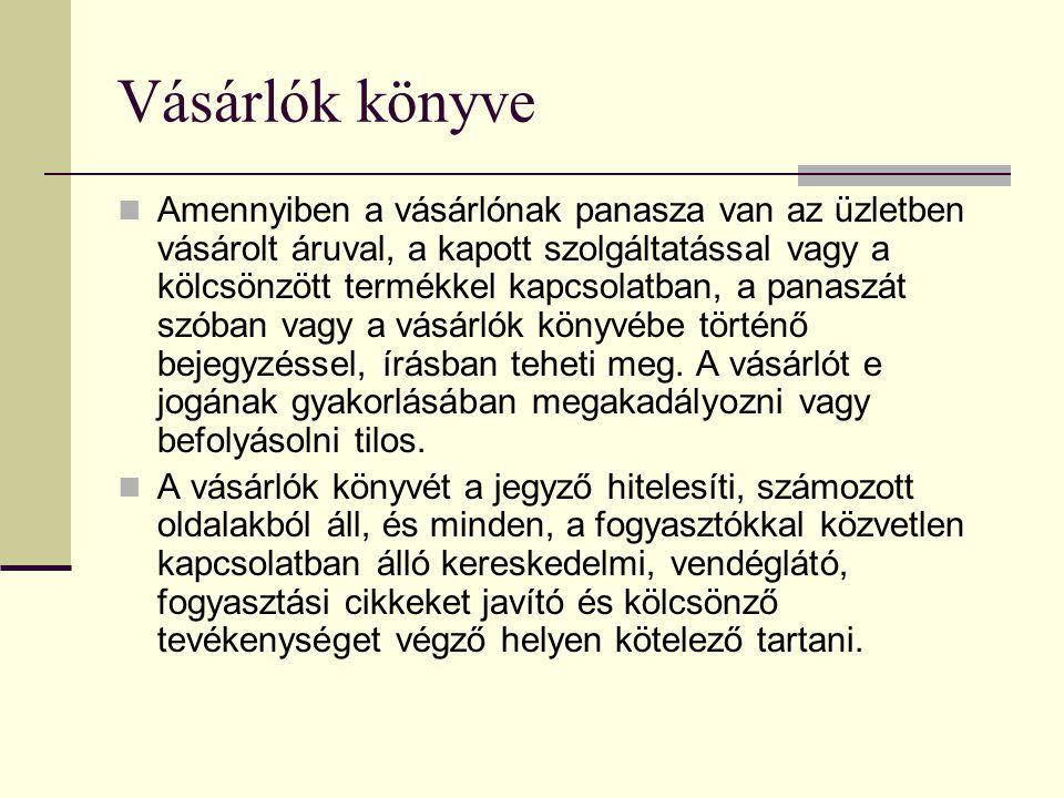 Jótállási jegy  151/2003.(IX. 22.) Korm.