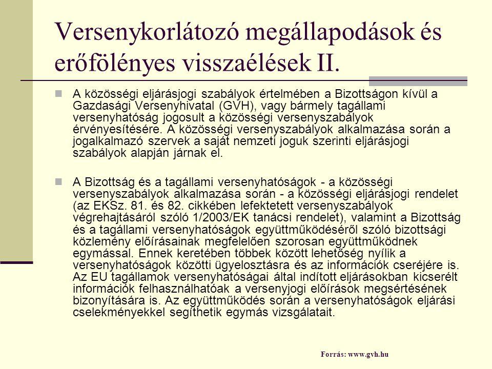 Versenykorlátozó megállapodások és erőfölényes visszaélések II.