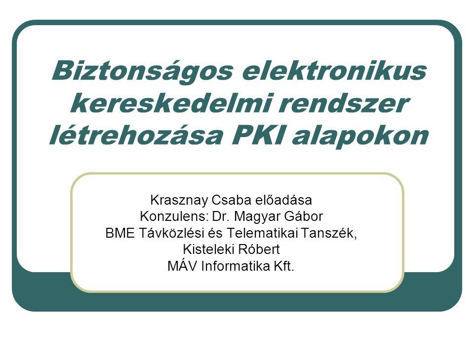 Biztonságos elektronikus kereskedelmi rendszer létrehozása PKI alapokon Krasznay Csaba előadása Konzulens: Dr.