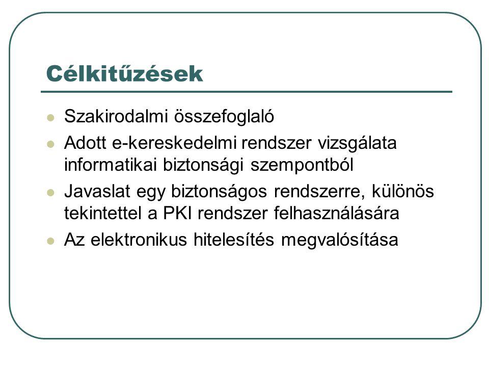 Célkitűzések  Szakirodalmi összefoglaló  Adott e-kereskedelmi rendszer vizsgálata informatikai biztonsági szempontból  Javaslat egy biztonságos rendszerre, különös tekintettel a PKI rendszer felhasználására  Az elektronikus hitelesítés megvalósítása