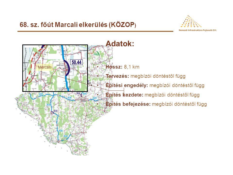 68. sz. főút Nagyatád elkerülés (KÖZOP) Adatok: •Hossz: 4,2 km •Tervezés: tervezői szerződéskötés: 2008. augusztus engedélyezési tervek leszállítása: