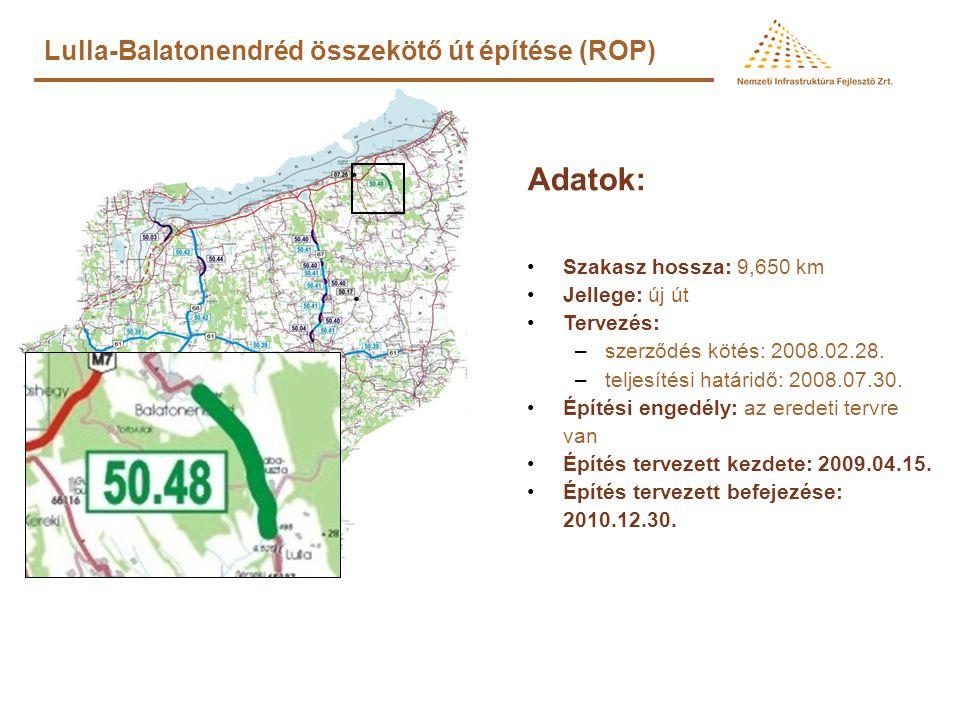 76. sz. főút Balatonszentgyörgy elkerülő út (KÖZOP) Adatok: •Szakasz hossza: 7,5 km •Tervezés: szerződés kötés: 2008.09.04. kiviteli terv teljesítési