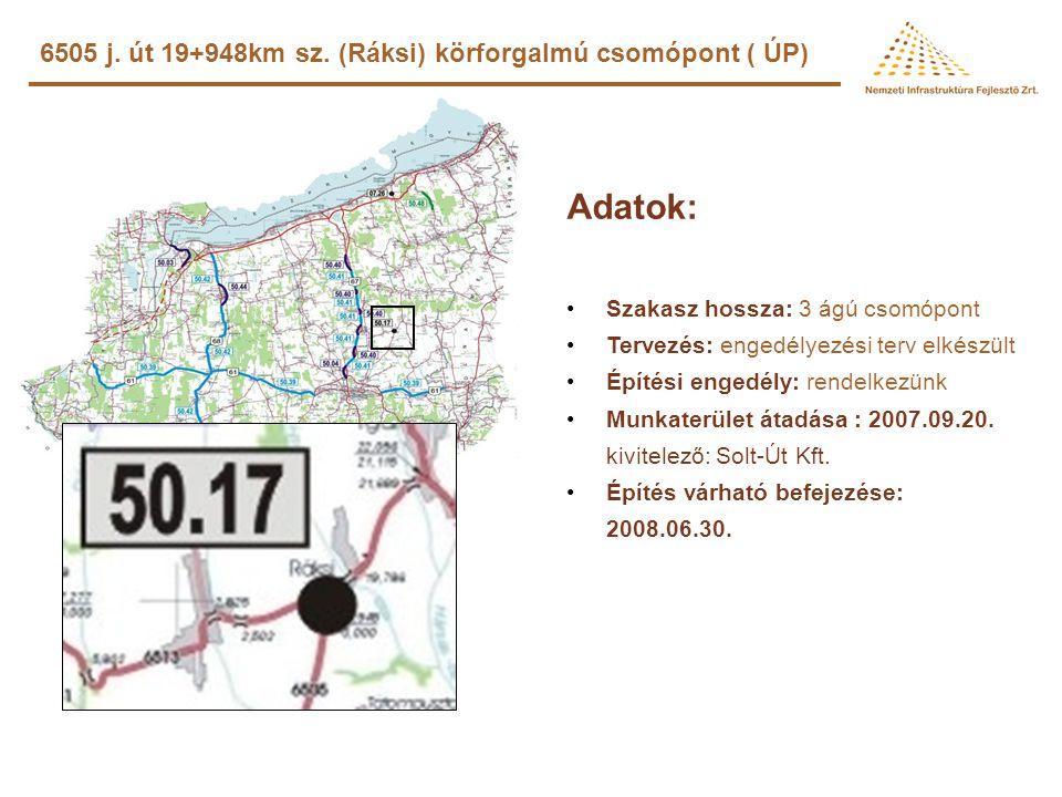 Lulla-Balatonendréd összekötő út építése (ROP) Adatok: •Szakasz hossza: 9,650 km •Jellege: új út •Tervezés: –szerződés kötés: 2008.02.28. –teljesítési