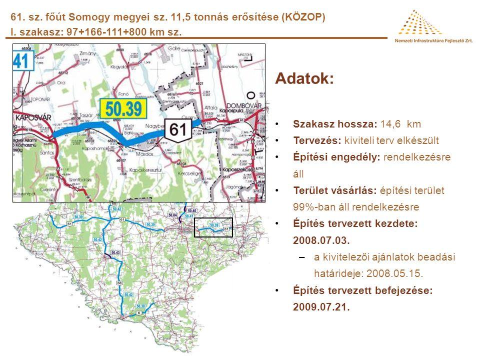 Somogy megyei projektek 76. sz. főút Balatonszentgyörgy elkerülő út 67. sz. főút Kaposfüred elkerülő 6505 j. út (Ráksi) 19+948km sz. körforgalmú csomó