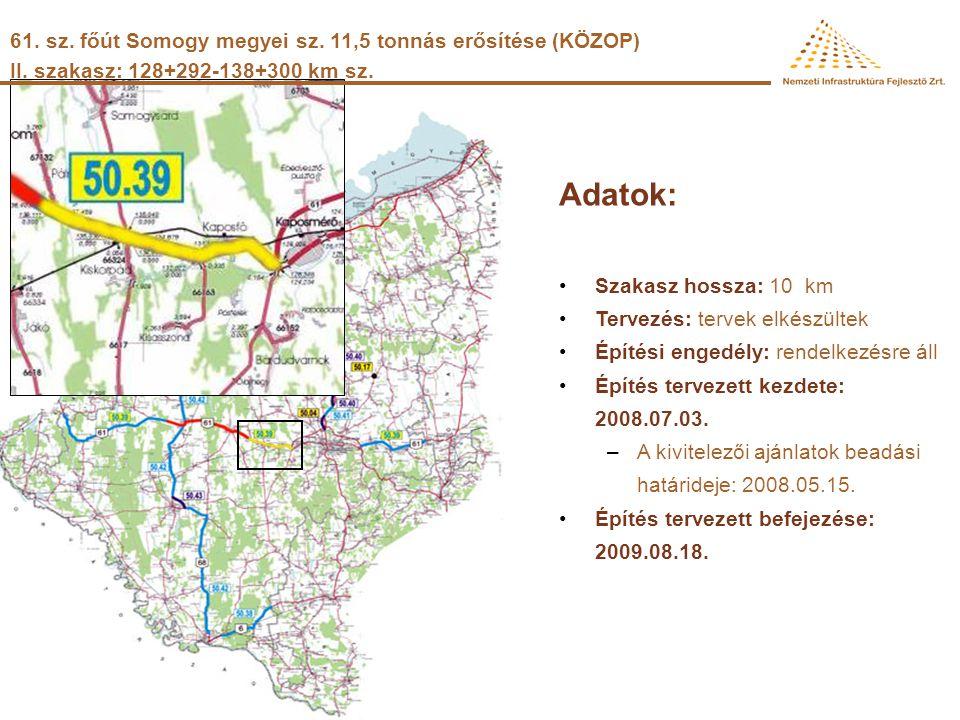 61. sz. főút Somogy megyei sz. 11,5 tonnás erősítése (KÖZOP) I. szakasz: 97+166-111+800 km sz. Adatok: •Szakasz hossza: 14,6 km •Tervezés: kiviteli te