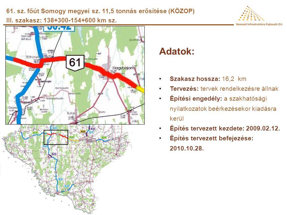 Adatok: •Szakasz hossza: 10 km •Tervezés: tervek elkészültek •Építési engedély: rendelkezésre áll •Építés tervezett kezdete: 2008.07.03. –A kivitelező
