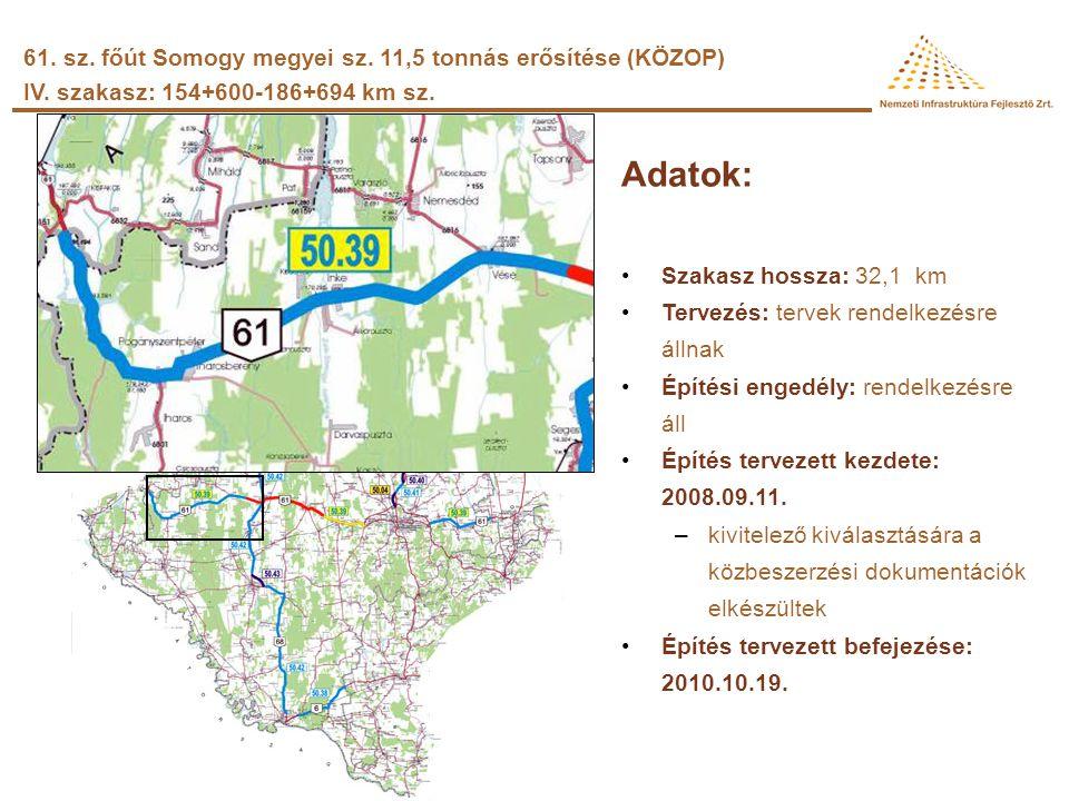 Adatok: •Szakasz hossza: 16,2 km •Tervezés: tervek rendelkezésre állnak •Építési engedély: a szakhatósági nyilatkozatok beérkezésekor kiadásra kerül •
