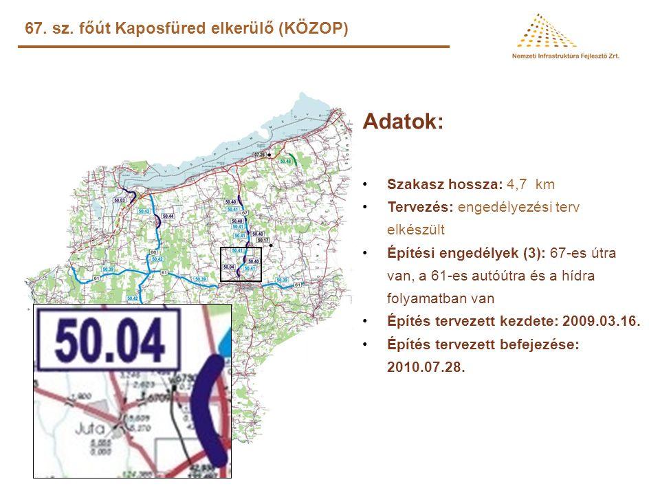 Adatok: •Szakasz hossza: 32,1 km •Tervezés: tervek rendelkezésre állnak •Építési engedély: rendelkezésre áll •Építés tervezett kezdete: 2008.09.11. –k