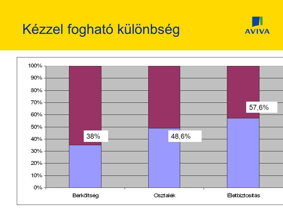 Kézzel fogható különbség 38% 57,6% 48,6%