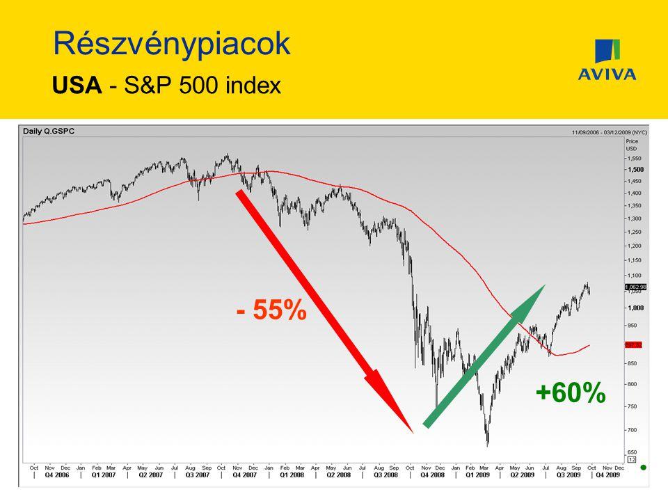 Részvénypiacok USA - S&P 500 index - 55% +60%
