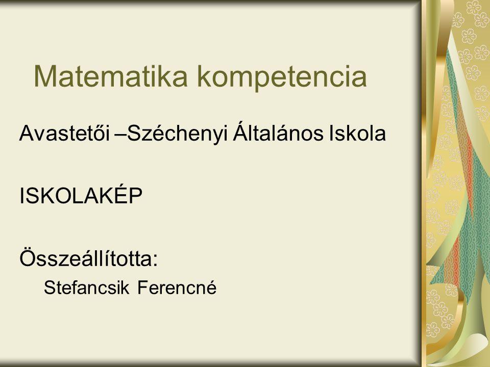 Matematika kompetencia Avastetői –Széchenyi Általános Iskola ISKOLAKÉP Összeállította: Stefancsik Ferencné