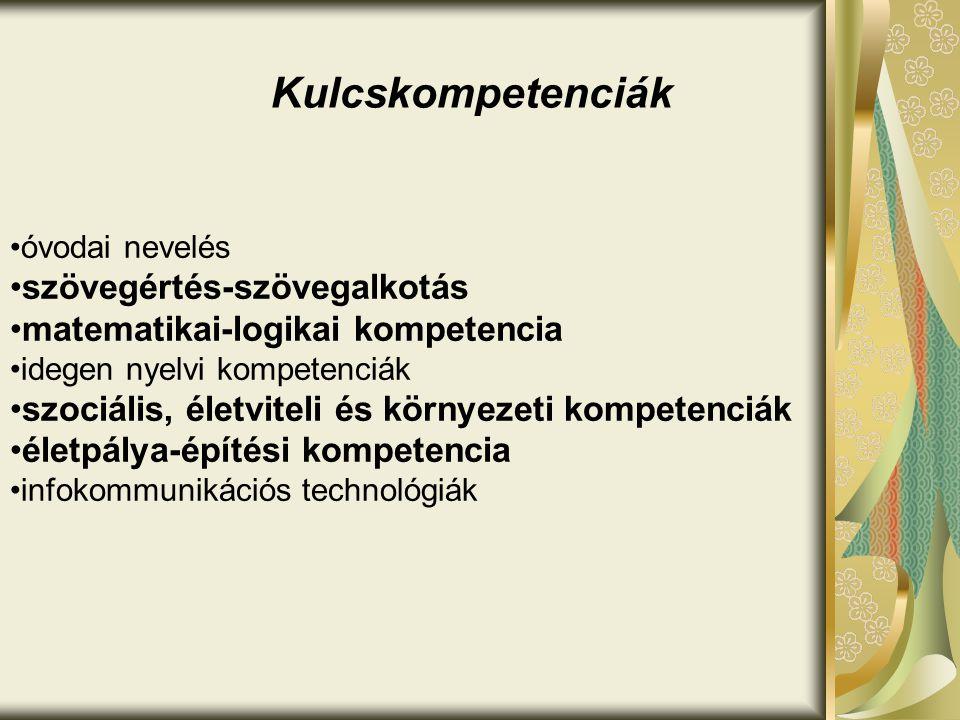 Kulcskompetenciák •óvodai nevelés •szövegértés-szövegalkotás •matematikai-logikai kompetencia •idegen nyelvi kompetenciák •szociális, életviteli és kö