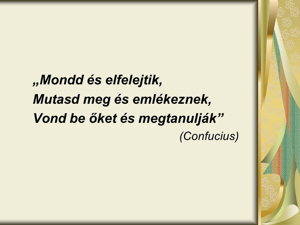"""""""Mondd és elfelejtik, Mutasd meg és emlékeznek, Vond be őket és megtanulják"""" (Confucius)"""