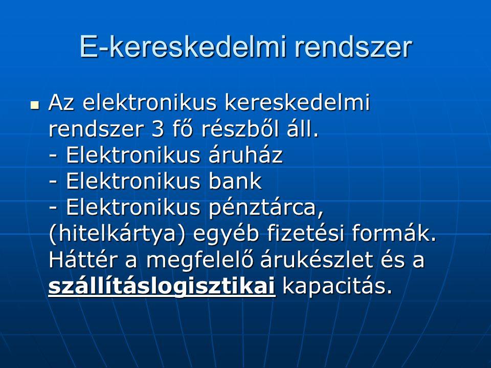 E-kereskedelmi rendszer  Az elektronikus kereskedelmi rendszer 3 fő részből áll. - Elektronikus áruház - Elektronikus bank - Elektronikus pénztárca,