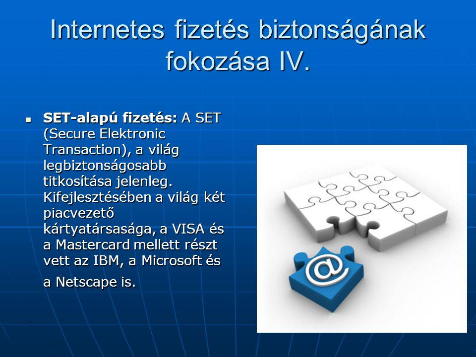Internetes fizetés biztonságának fokozása IV.  SET-alapú fizetés: A SET (Secure Elektronic Transaction), a világ legbiztonságosabb titkosítása jelenl