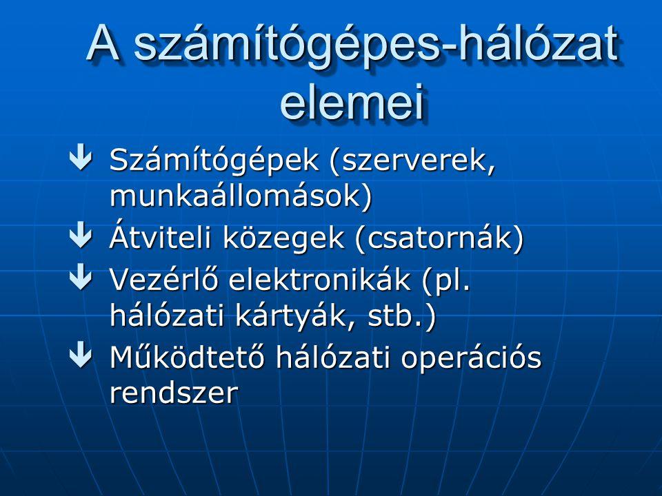 A számítógépes-hálózat elemei êSzámítógépek (szerverek, munkaállomások) êÁtviteli közegek (csatornák) êVezérlő elektronikák (pl. hálózati kártyák, stb