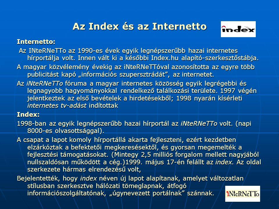 Az Index és az Internetto Internetto: Az INteRNeTTo az 1990-es évek egyik legnépszerűbb hazai internetes hírportálja volt. Innen vált ki a későbbi Ind