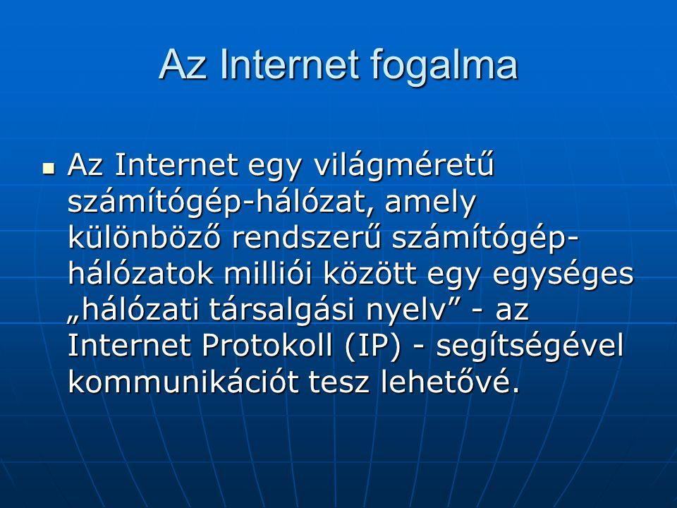 """Az Internet fogalma  Az Internet egy világméretű számítógép-hálózat, amely különböző rendszerű számítógép- hálózatok milliói között egy egységes """"hál"""