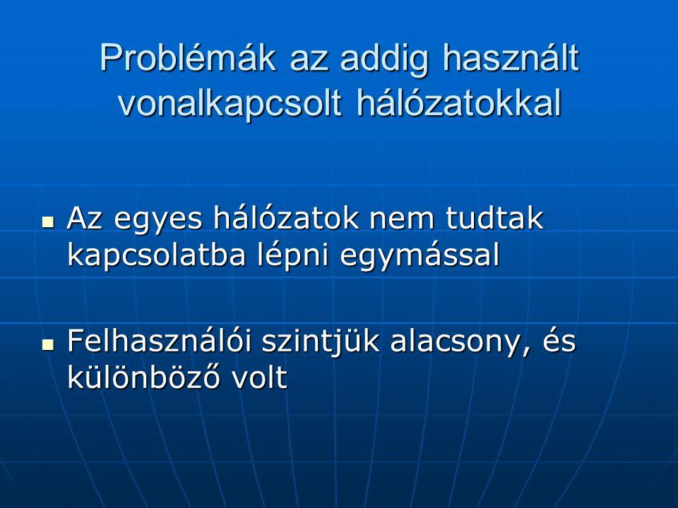 Problémák az addig használt vonalkapcsolt hálózatokkal  Az egyes hálózatok nem tudtak kapcsolatba lépni egymással  Felhasználói szintjük alacsony, é
