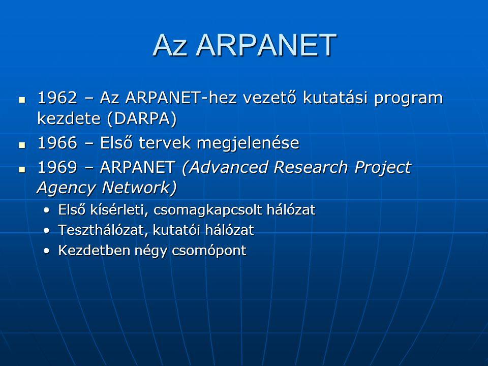 Az ARPANET  1962 – Az ARPANET-hez vezető kutatási program kezdete (DARPA)  1966 – Első tervek megjelenése  1969 – ARPANET (Advanced Research Projec
