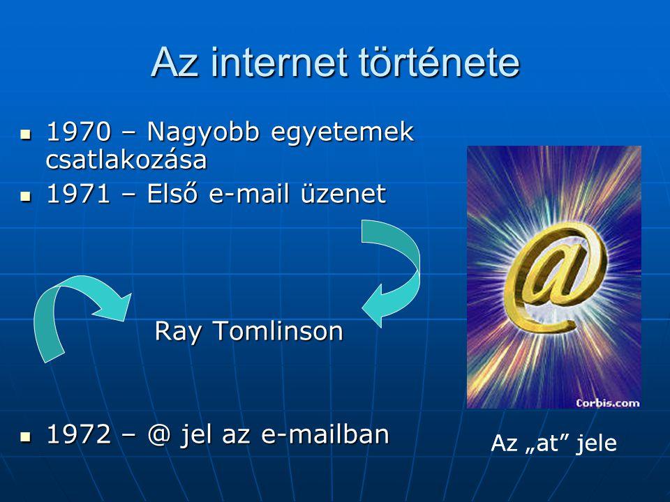 """Az internet története  1970 – Nagyobb egyetemek csatlakozása  1971 – Első e-mail üzenet Ray Tomlinson  1972 – @ jel az e-mailban Az """"at"""" jele"""