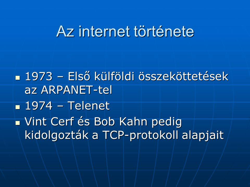 Az internet története  1973 – Első külföldi összeköttetések az ARPANET-tel  1974 – Telenet  Vint Cerf és Bob Kahn pedig kidolgozták a TCP-protokoll