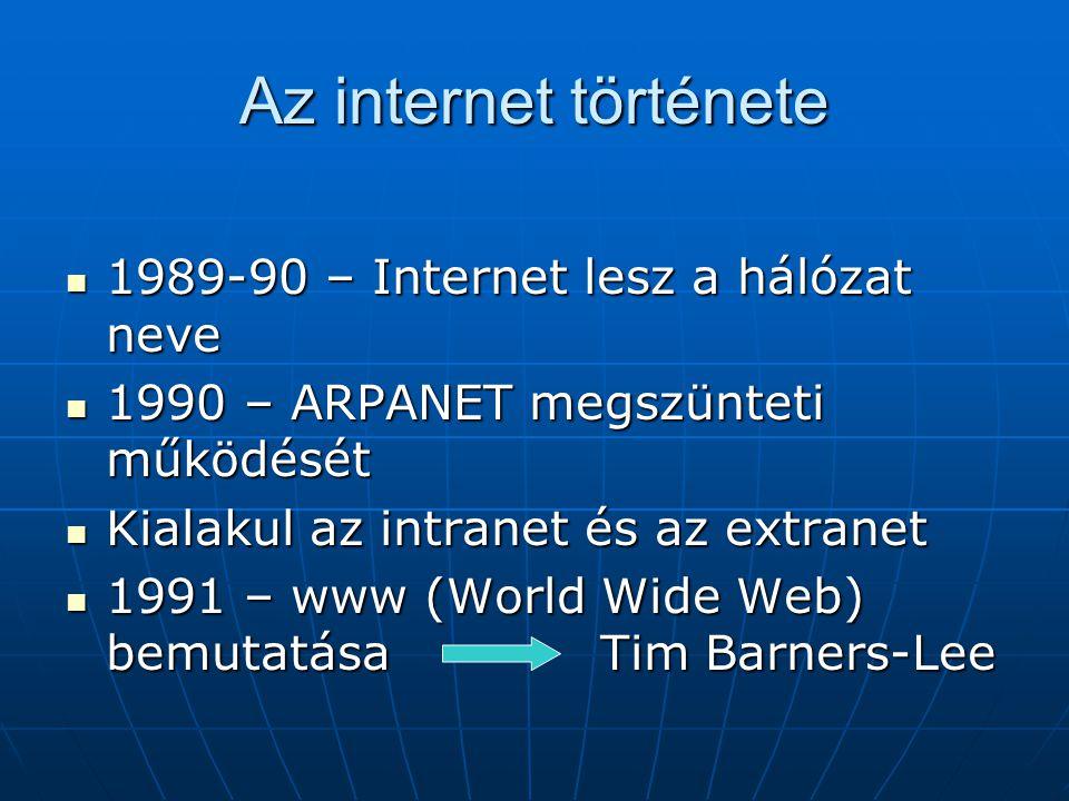 Az internet története  1989-90 – Internet lesz a hálózat neve  1990 – ARPANET megszünteti működését  Kialakul az intranet és az extranet  1991 – w